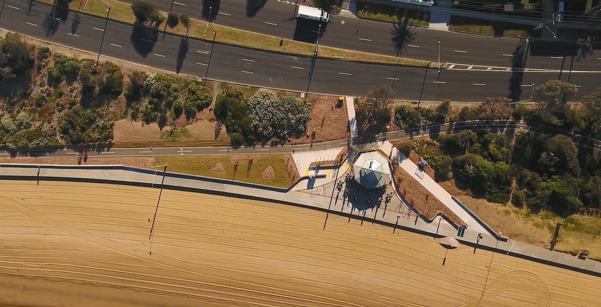 Landscape construction Pt Ormond overhead